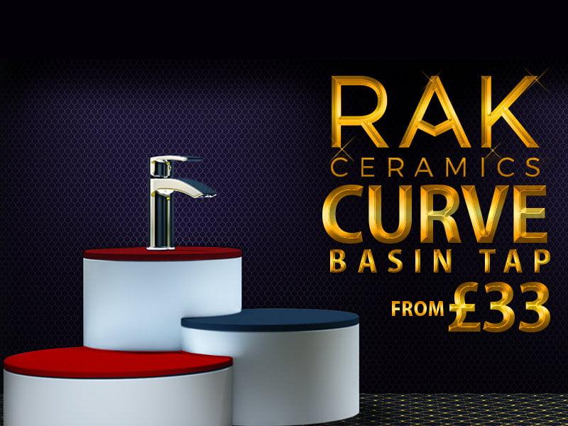 RAK Curve Mini Mono Basin Mixer Tap With Clicker Waste