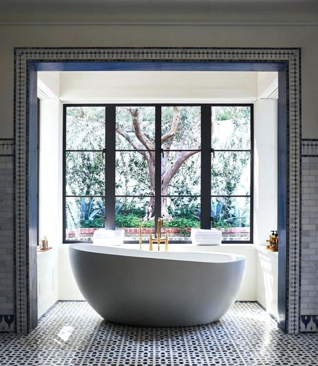 Free Standing Bath with Gold plated Floor Standing Tap