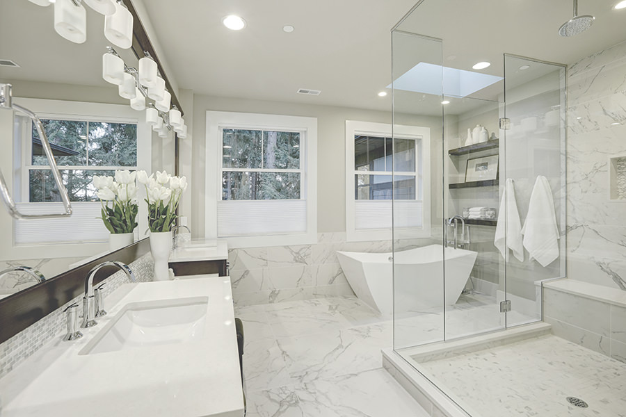 White Bathroom with Huge Wetroom